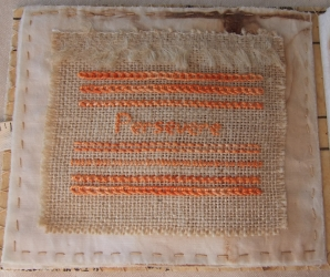 <p>Stitched on Hessian in orange to recall the bag I made with an embroidered crab on it when i was about 12?  The class was taken by my Aunt Natalie Watkin who we would often go and stay with in the holidays at Palmerston North.  I remember being very keen to have it finished to show Mum when i got home.  You have to persevere!</p>