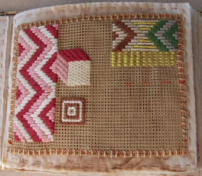 <p>Practicising embroidery stitches</p>