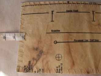 <p>The inside front cover.  Made by fusing sewing pattern to the fabric.</p>